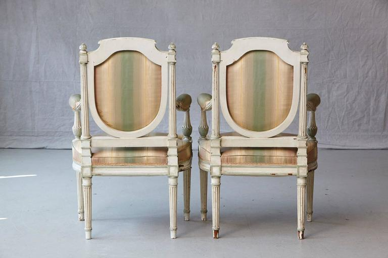 Late 19th Century Pair of 19th Century French Louis XVI Style Painted Fauteuils For Sale