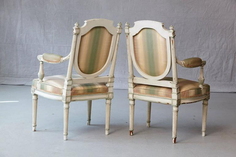 Fabric Pair of 19th Century French Louis XVI Style Painted Fauteuils For Sale