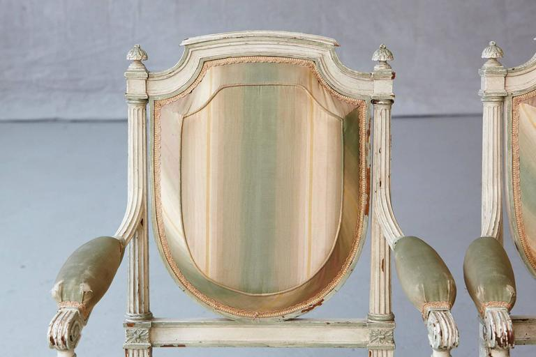 Pair of 19th Century French Louis XVI Style Painted Fauteuils For Sale 3