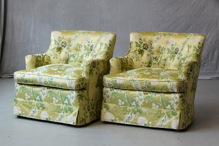 American Pair of Lounge Chairs in Lime Green Floral Chintz from ABC For Sale