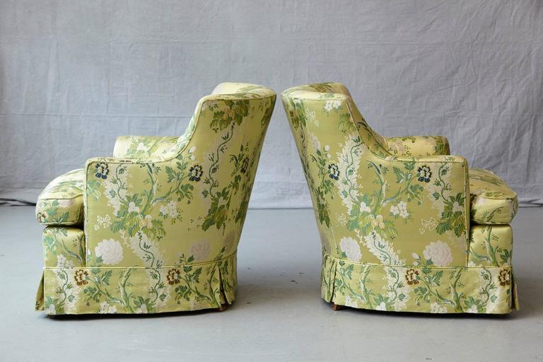 Pair of Lounge Chairs in Lime Green Floral Chintz from ABC In Good Condition For Sale In Westport, CT