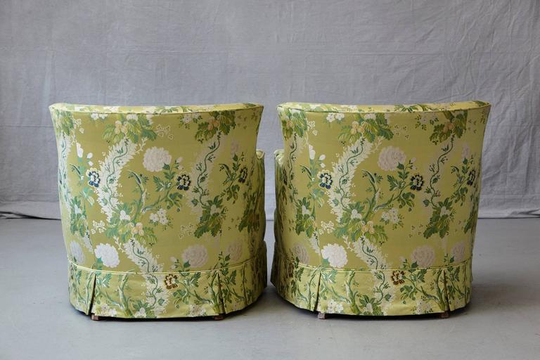 Late 20th Century Pair of Lounge Chairs in Lime Green Floral Chintz from ABC For Sale
