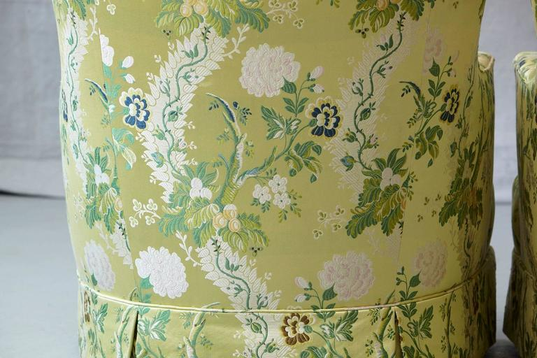 Fabric Pair of Lounge Chairs in Lime Green Floral Chintz from ABC For Sale