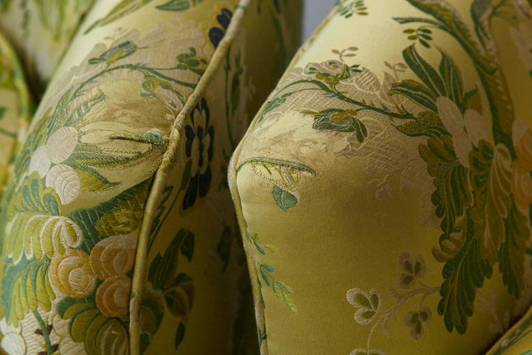 Pair of Lounge Chairs in Lime Green Floral Chintz from ABC For Sale 3
