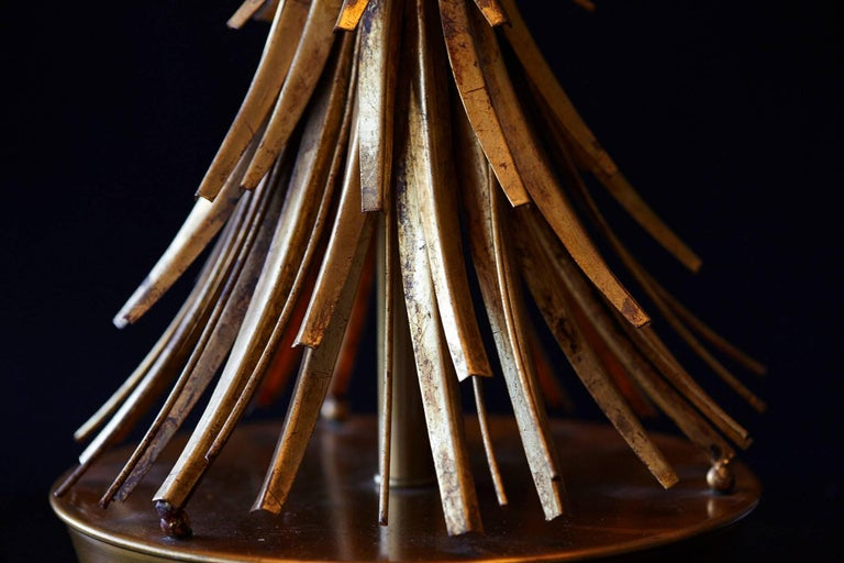 1950s Sheaf of Wheat Gilt Metal Table Lamp by Mabro, Lamp 2 For Sale