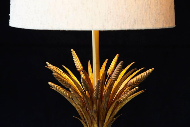 Sheaf of Wheat Gilt Metal Table Lamp by Mabro, Lamp 2 For Sale 1