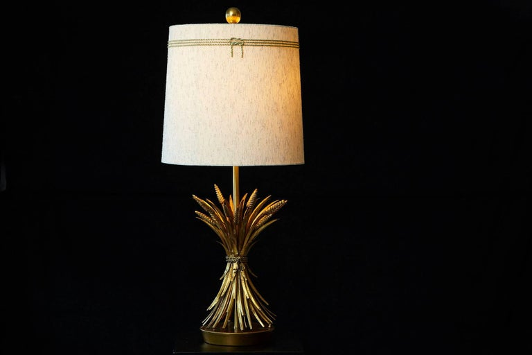 Sheaf of Wheat Gilt Metal Table Lamp by Mabro, Lamp 2 For Sale 3