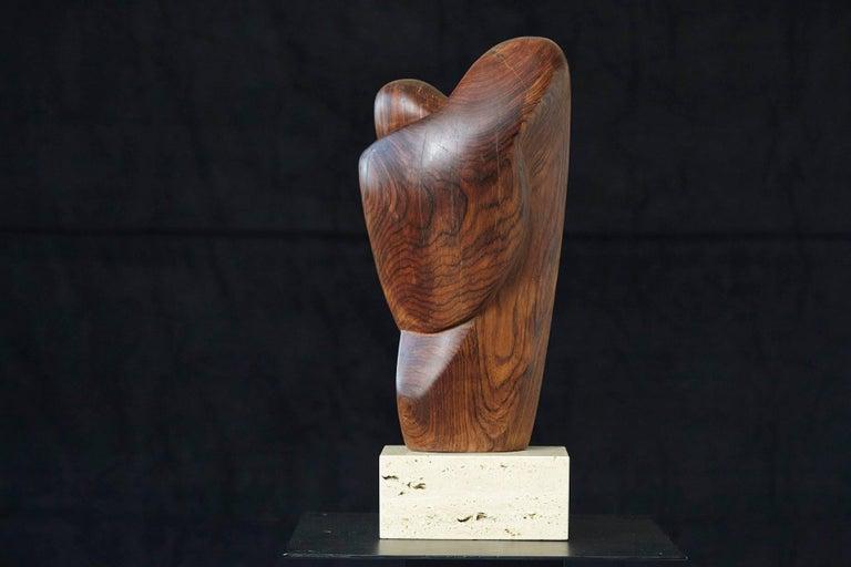 Lovers biomorph abstract teak sculpture on travertine