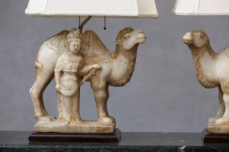 Chinese Pair of Hand-Carved Figurative Marble Table Lamps For Sale