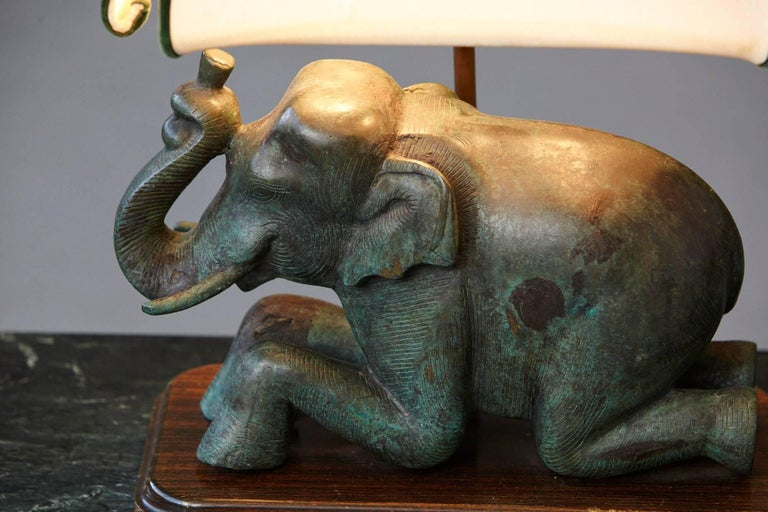 Mid-20th Century Patinated Metal Recumbent Indian Elephant form Table Lamp For Sale