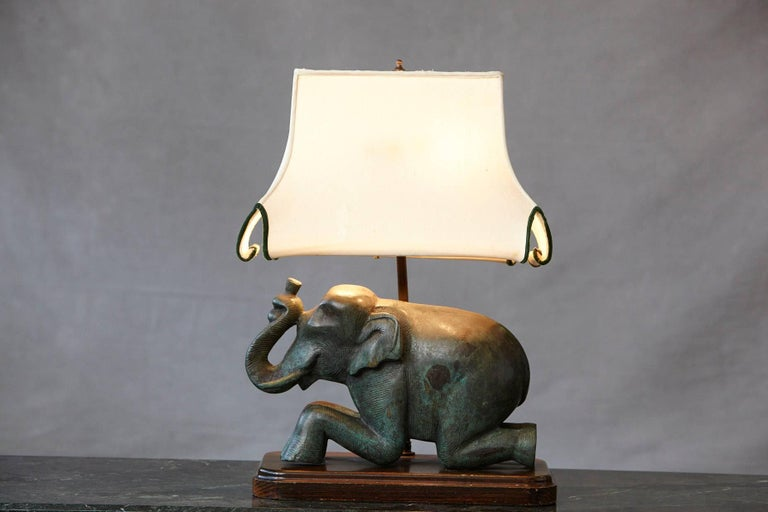 Unknown Patinated Metal Recumbent Indian Elephant form Table Lamp For Sale