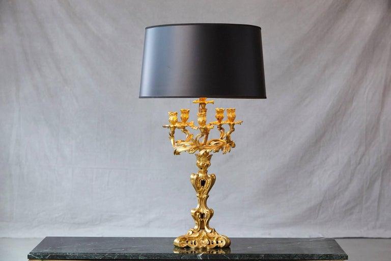 Gilt Louis XV Style Doré Bronze Candelabrum Table Lamp For Sale