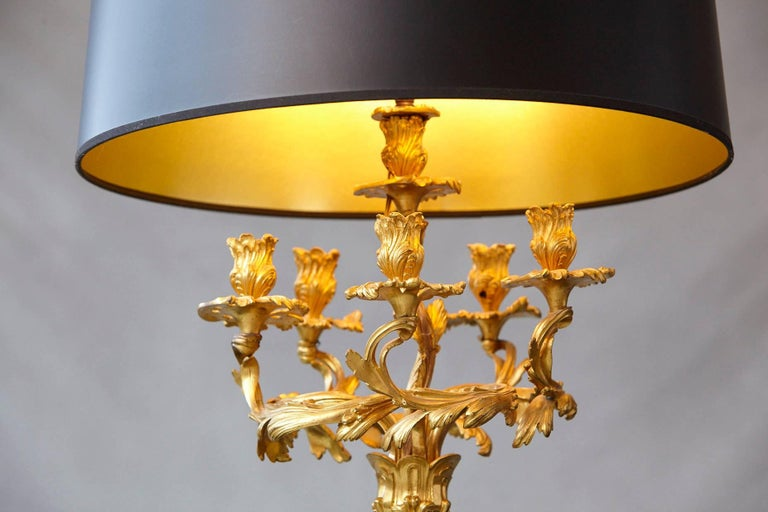 Early 20th Century Louis XV Style Doré Bronze Candelabrum Table Lamp For Sale