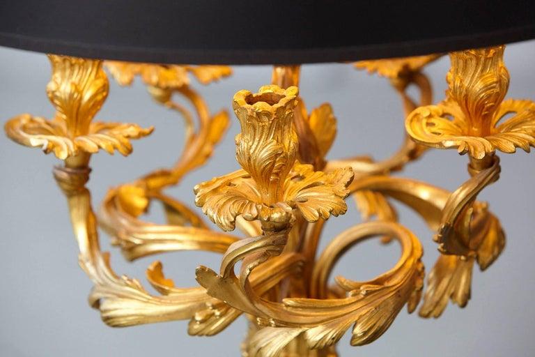 Louis XV Style Doré Bronze Candelabrum Table Lamp For Sale 1