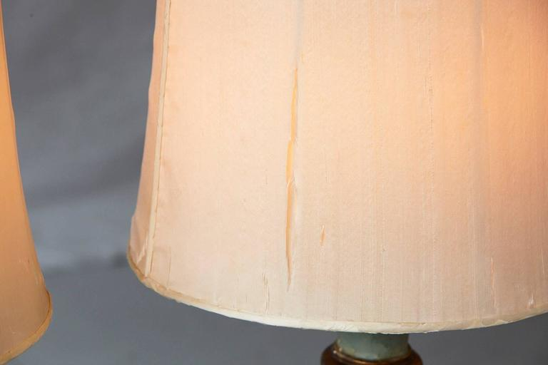 Pair of Antique Italian Hand-Painted Wood Vasiform Table Lamps For Sale 4