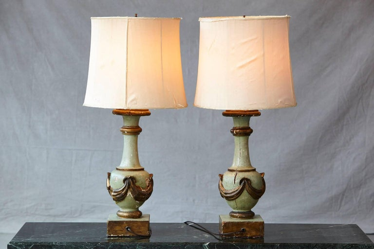 19th Century Pair of Antique Italian Hand-Painted Wood Vasiform Table Lamps For Sale