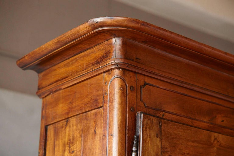 French 18th Century Louis XV Style Fruitwood Cabinet a Deux Corps For Sale 4