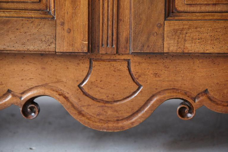 French 18th Century Louis XV Style Fruitwood Cabinet a Deux Corps For Sale 7
