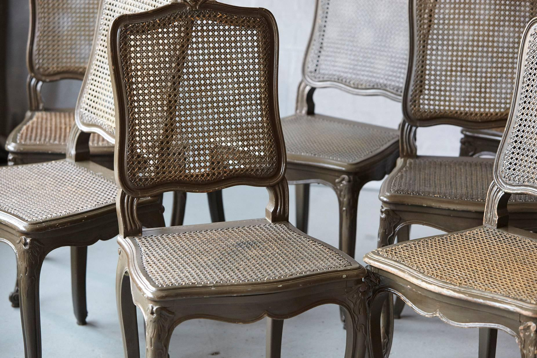 Painted Set Of Ten Early 20th Century French Provincial Country Style  Dining Chairs For Sale