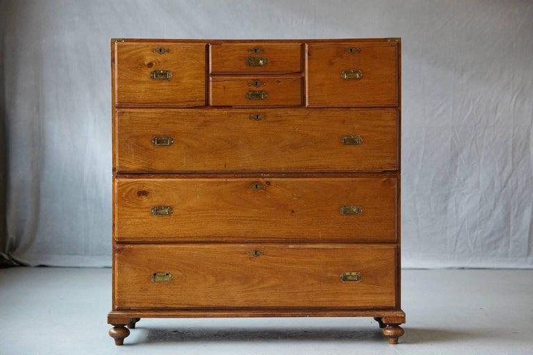 Late 19th Century English Campaign Chest of Drawers In Good Condition For Sale In Westport, CT
