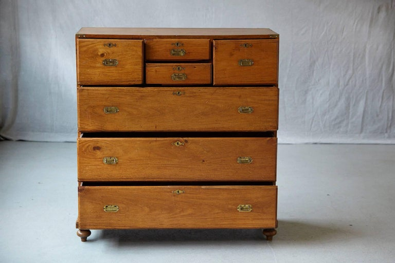 Late 19th Century English Campaign Chest of Drawers For Sale 1
