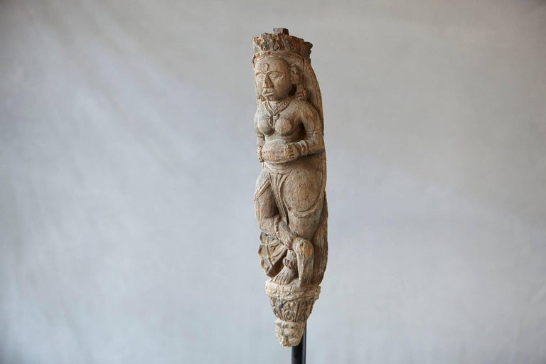 Hardwood Hand-Carved Wood Wall Sculpture of an Indian Goddess For Sale