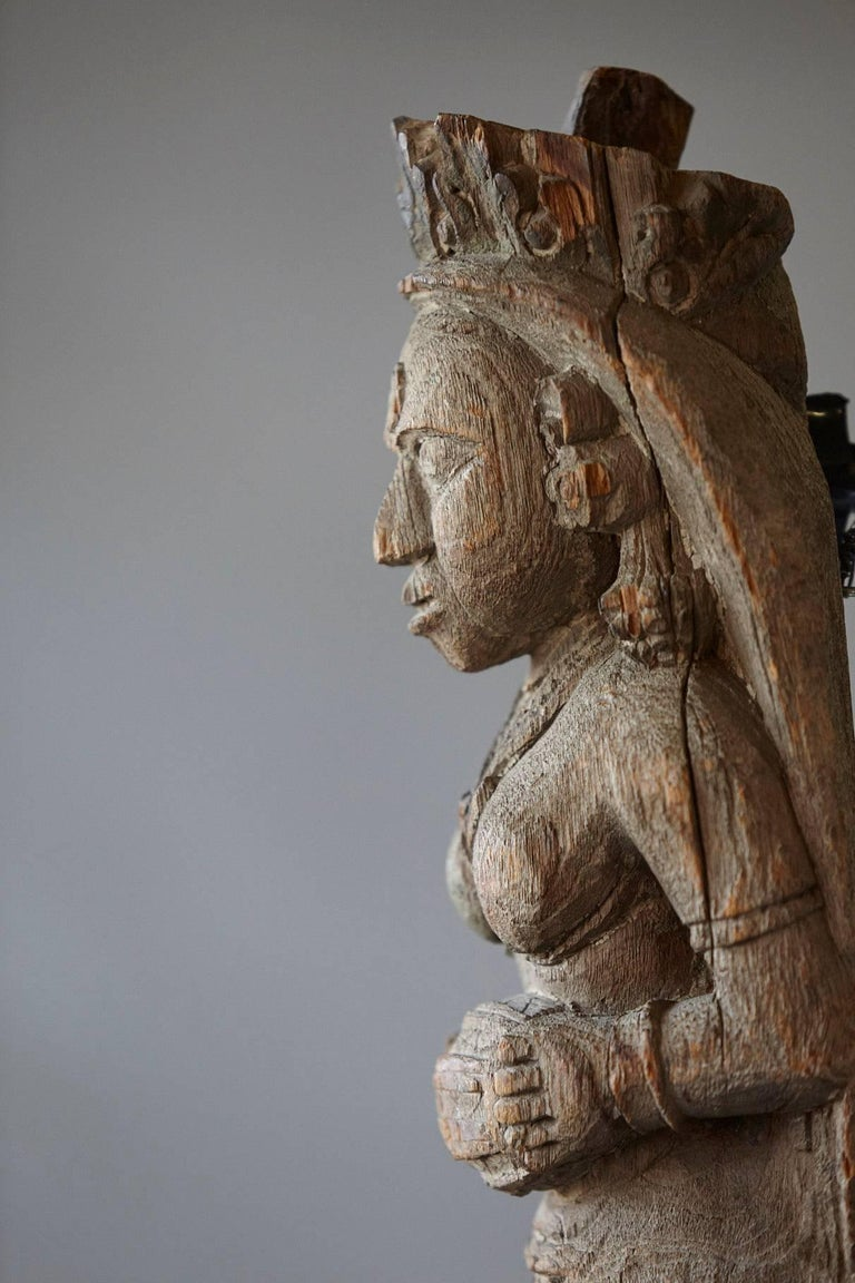 Hand-Carved Wood Wall Sculpture of an Indian Goddess For Sale 1