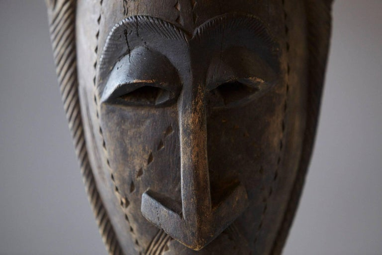 Decorative African Hand-Carved Wood Mask, circa 1960s In Good Condition For Sale In Weston, CT