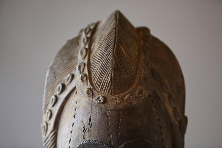 20th Century Decorative African Hand-Carved Wood Mask, circa 1960s For Sale