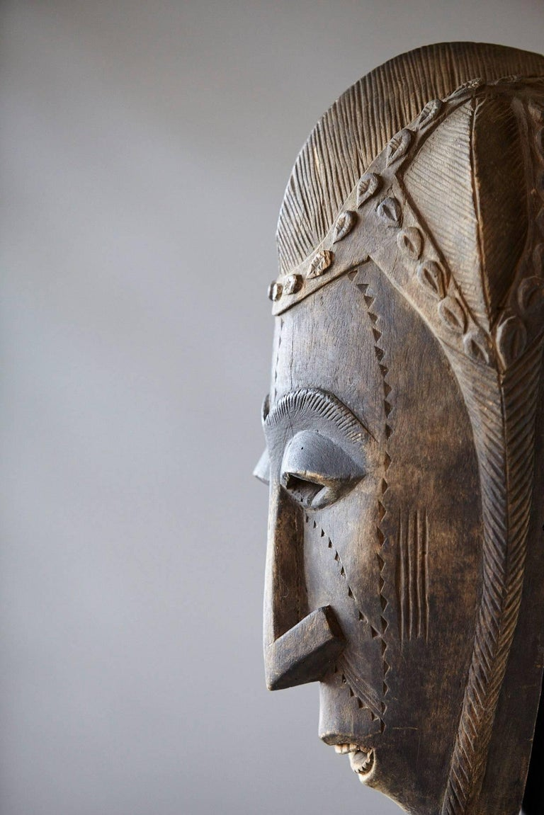 Decorative African Hand-Carved Wood Mask, circa 1960s For Sale 2