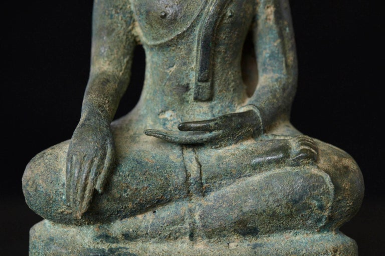 Possibly 15th-16th Century Bronze Thai Buddha Statue For Sale 5