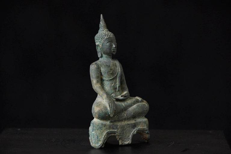 18th Century and Earlier Possibly 15th-16th Century Bronze Thai Buddha Statue For Sale