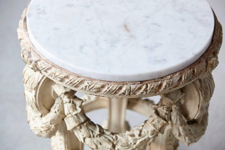 Victorian Side Table with Detailed Carvings Paint Finish and Marble Top In Fair Condition For Sale In Westport, CT
