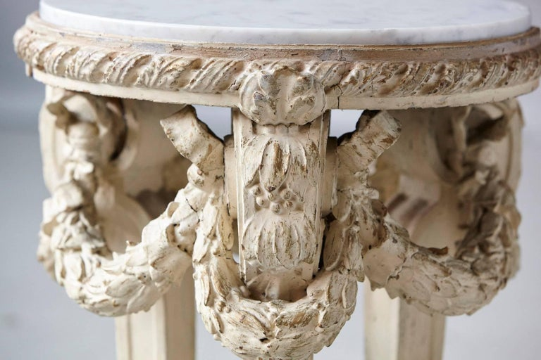 19th Century Victorian Side Table with Detailed Carvings Paint Finish and Marble Top For Sale