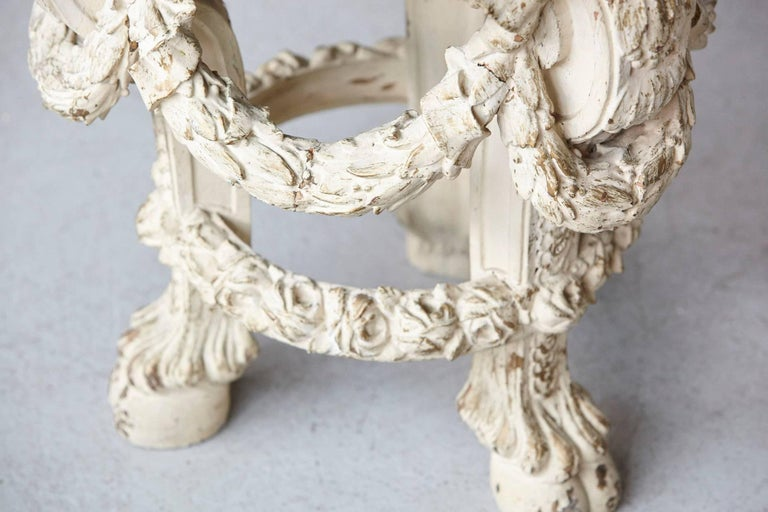 Victorian Side Table with Detailed Carvings Paint Finish and Marble Top For Sale 2