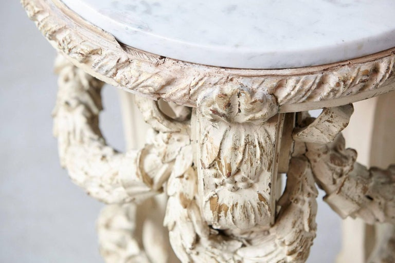 Victorian Side Table with Detailed Carvings Paint Finish and Marble Top For Sale 3