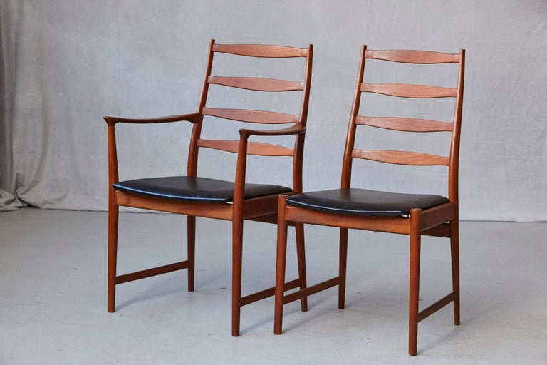Mid-Century Modern Set of Six High Back Dining Chairs by Arne Vodder for Vamo Sonderborg For Sale