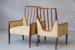 Rare Pair of High Back T.H. Robsjohn-Gibbings Lounge Chairs for Widdicomb