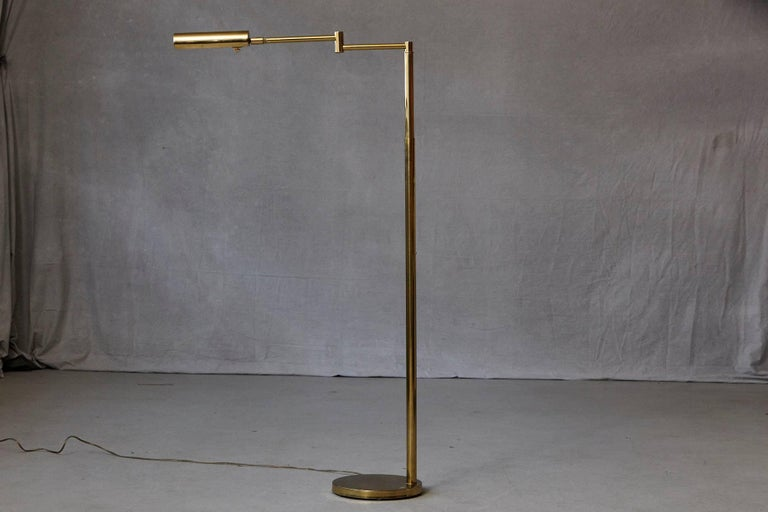 Height Adjustable Brass Swing Arm Floor Lamp By Koch And
