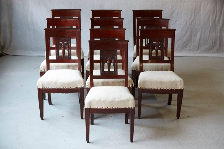 Set of Ten Antique Dining Chairs with Back Carvings Ready for Decorating Touch 2