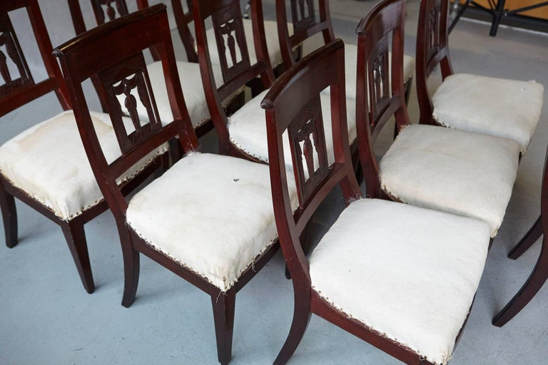 Set of Ten Antique Dining Chairs with Back Carvings Ready for Decorating Touch 7