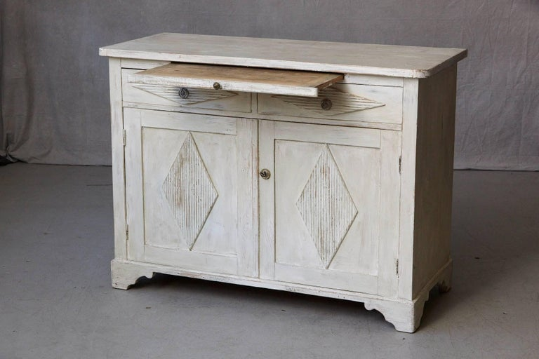 Pine 19th Century Swedish Gustavian Sideboard with Diamond Shape Reeded Details For Sale