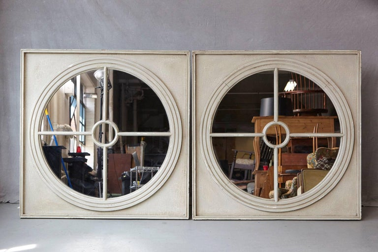 Large Pair of Round Architectural Mirrors in a Square Frame 2