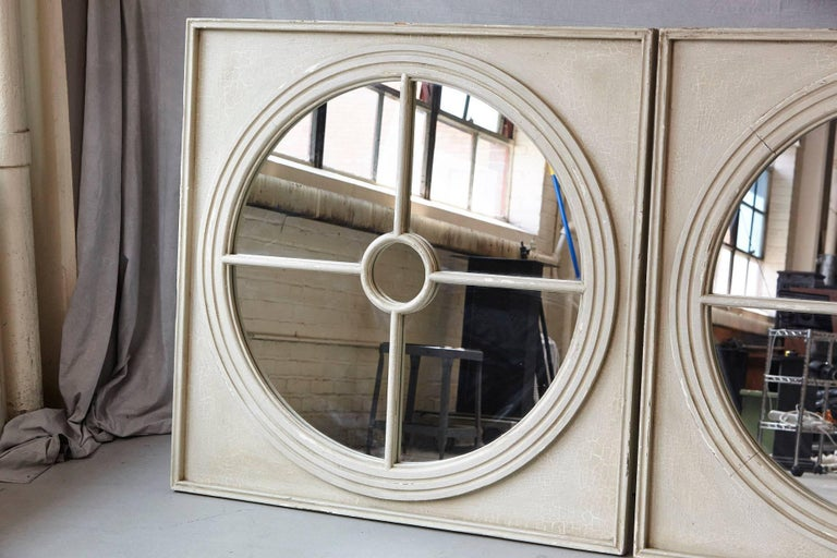 Large Pair of Round Architectural Mirrors in a Square Frame 3