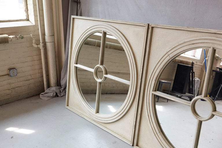 Large Pair of Round Architectural Mirrors in a Square Frame 5