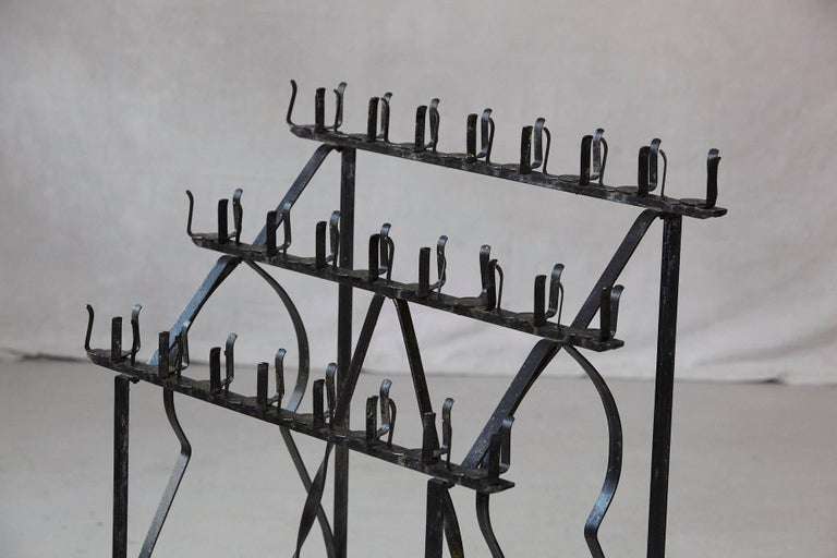 Black Wrought Iron Votive Candle Stand for 24 Candles In Good Condition For Sale In Westport, CT