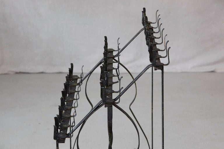 Black Wrought Iron Votive Candle Stand for 24 Candles For Sale 2