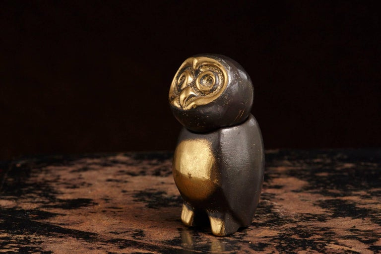 Austrian Heavy Brass Owl with Swiveling Head in the Style of Walter Bosse For Sale