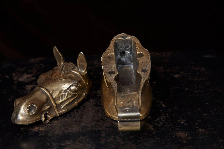 Cast Brass Colored Horse Head Tape Dispenser, 1960s For Sale