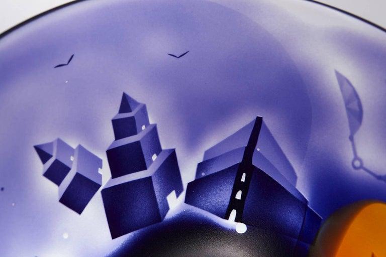 Large Kosta Unik Surrealist Art Glass Bowl by Bertil Vallien, 1970s For Sale 2
